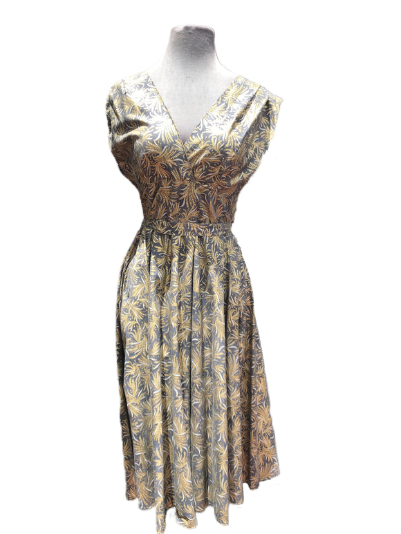 Dress with gold floral design