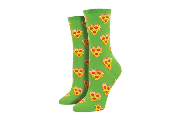 Love You To Pizzas (Green) Women's Funky Socks