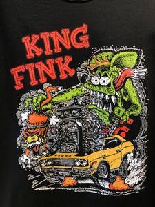 Classic hot rod culture icon Rat Fink as King Fink