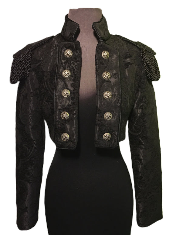 Black Toredor Jacket With brocade pattern and military shoulders