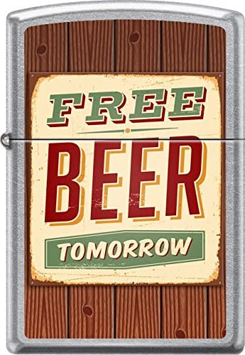 Free Beer Tomorrow Lighter Retro style lettering