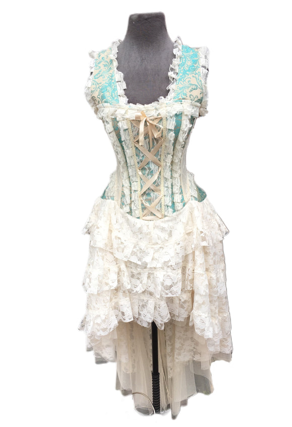 Cream and Teal Brocade Corset Dress