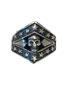 A true Americana biker ring with a skull in the center and accented with stars