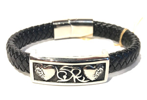 Stainless steel double heart flourished design with all leather bracelet