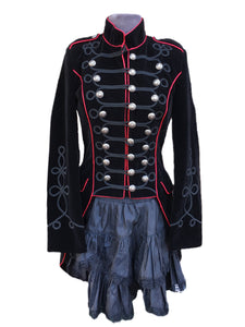 Black velvet band style jacket with red piping