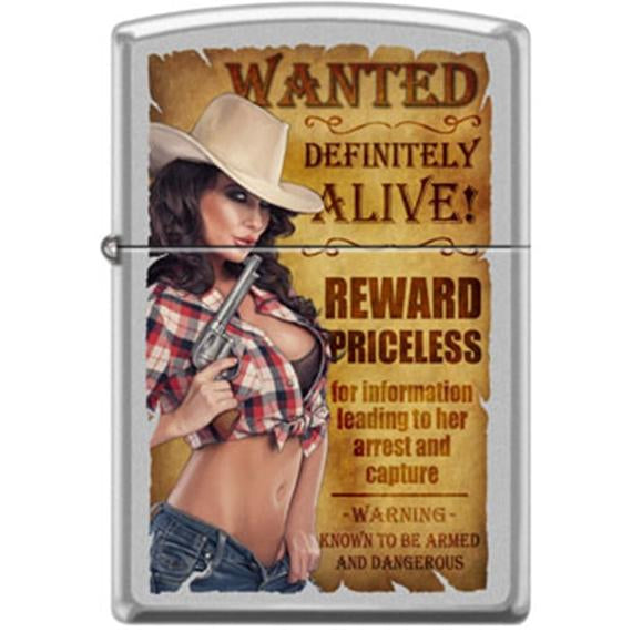 Wanted poster with cowgirl blowing gun barrel