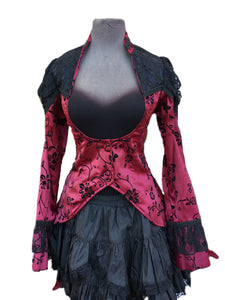 A beautiful velvet tailcoat with lace shoulders for your inner vampire.  Tailcoat fastens under the bust with two velvet buttons.  Red and black.