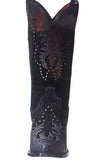 INVY BLACK LEATHER COWBOY BOOTS