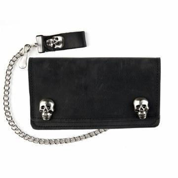 6 inch Leather Wallet with Chain - Skull Snaps