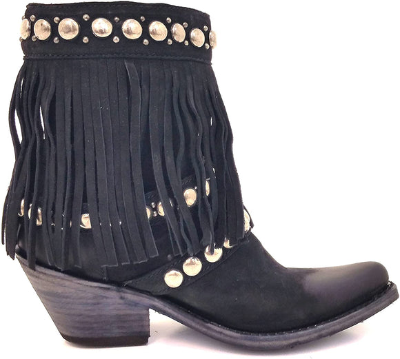 Nubuck Grease Black Fringe Booties