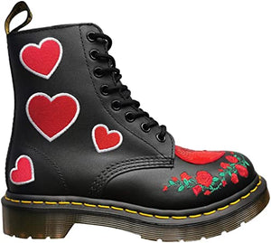 1460 PASCAL SEQUIN HEART BOOTS BLACK RED