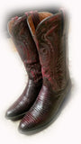 RALIEGH COLLECTION WESTERN BOOT WITH BLACK CHERRY TEJU LIZARD LEATHER