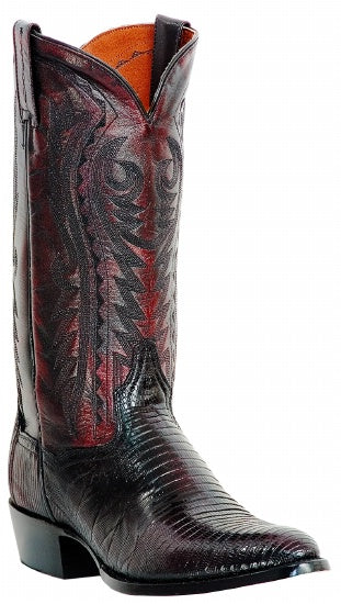 Raleigh Collection Western Boots with Black Cherry Teju Lizard Leather