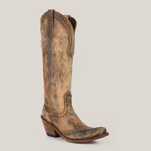 TALL AMERICA TAN DISTRESSED BOOTS