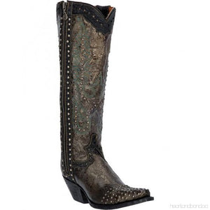 TEMPTED STUDDED SNIP TOE COWGIRL BOOTS