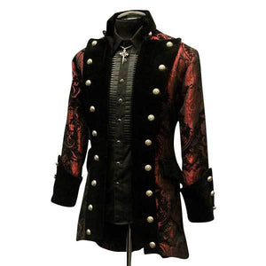 Red and Black Brocade Coat