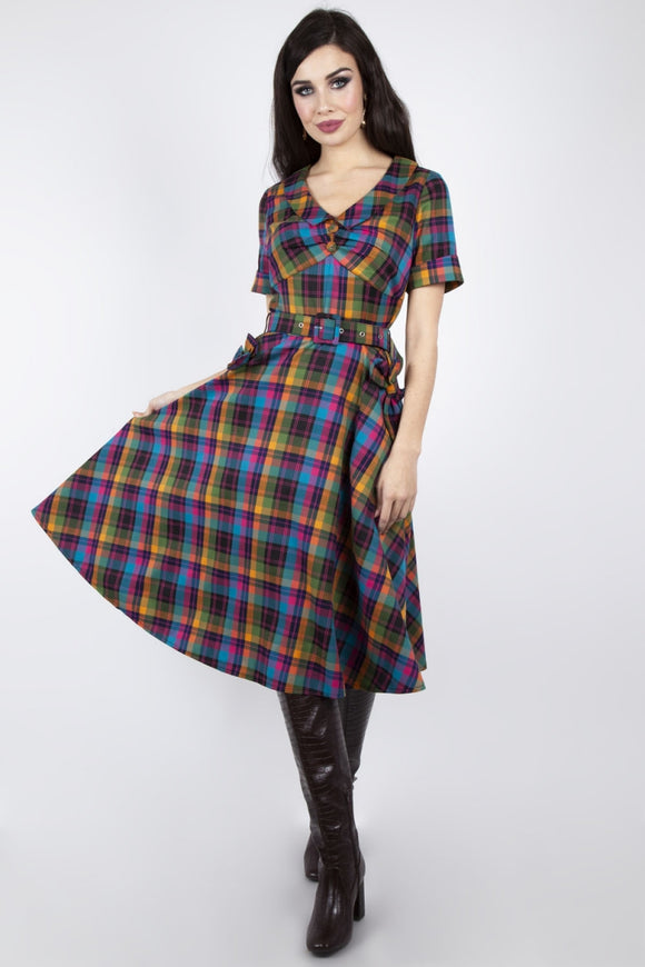 Camilla Plaid Flare Dress