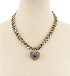 Love Lock Necklace - Rhinestone