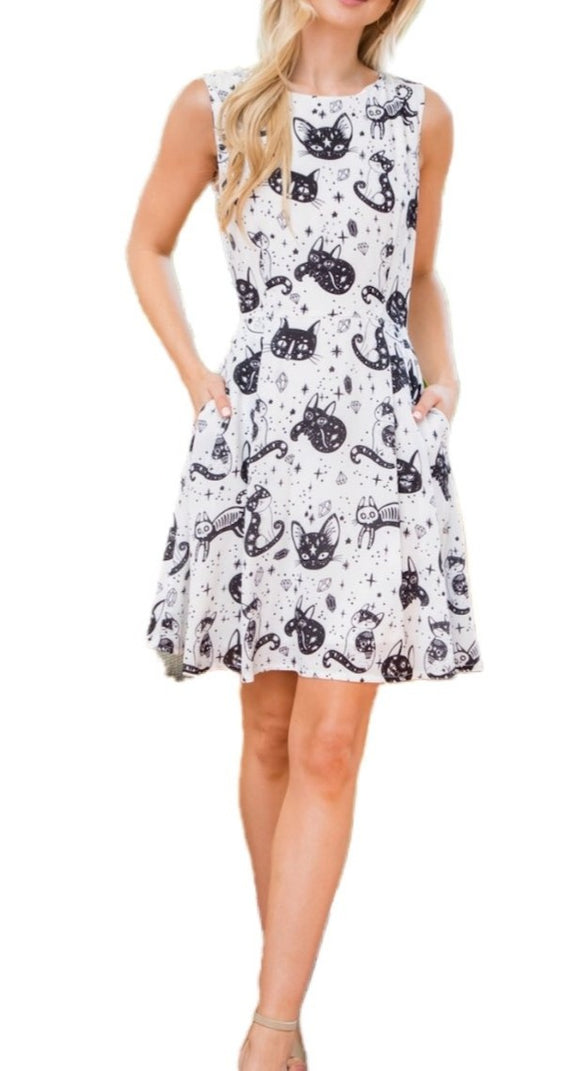 Spooky Cat Sleeveless Dress