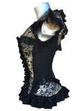Gold King/Black Lace Overbust Corset