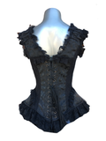 Black Scroll/Black Lace Overbust Corset