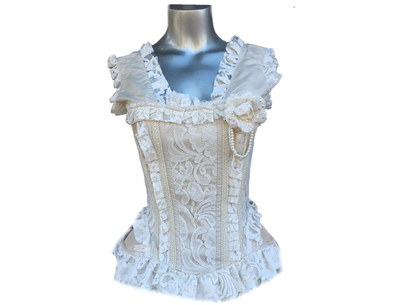 Cream Taffeta/Cream Lace Overbust Corset