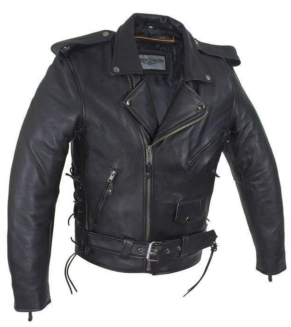Classic Leather Motorcycle Jacket with Side Lacing