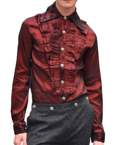 Stretchy Red Ruffle Shirt