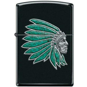 Chief with Turquoise Feathers Black Matte Lighter