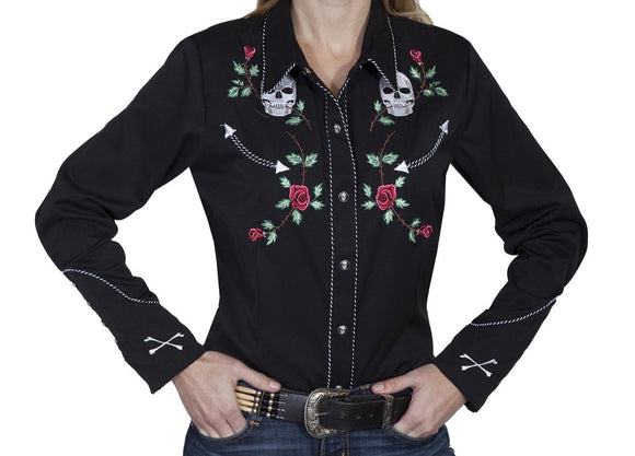 Skulls and Roses Retro Western Shirt