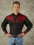 Tooling Black and Red Western Shirt