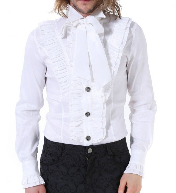 Stretchy White Ruffle Shirt With Tie