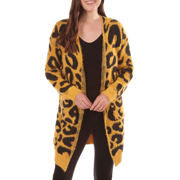 Black and Gold Leopard Cardigan Sweater - LAST ONE