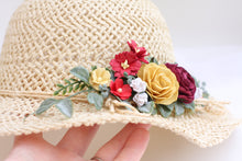 Load image into Gallery viewer, Floral hat - Ruby