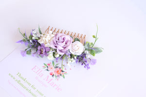 Floral hair comb - Violet fields