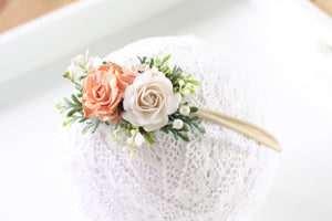 Floral headband/Clip - Perfectly peach