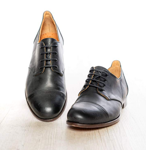 Model Cap Toe Black, Tanzschuhe für Damen, Lindy Hop, Shag, Blues oder Charleston, 100% Leder, Vintage look, Elegant!