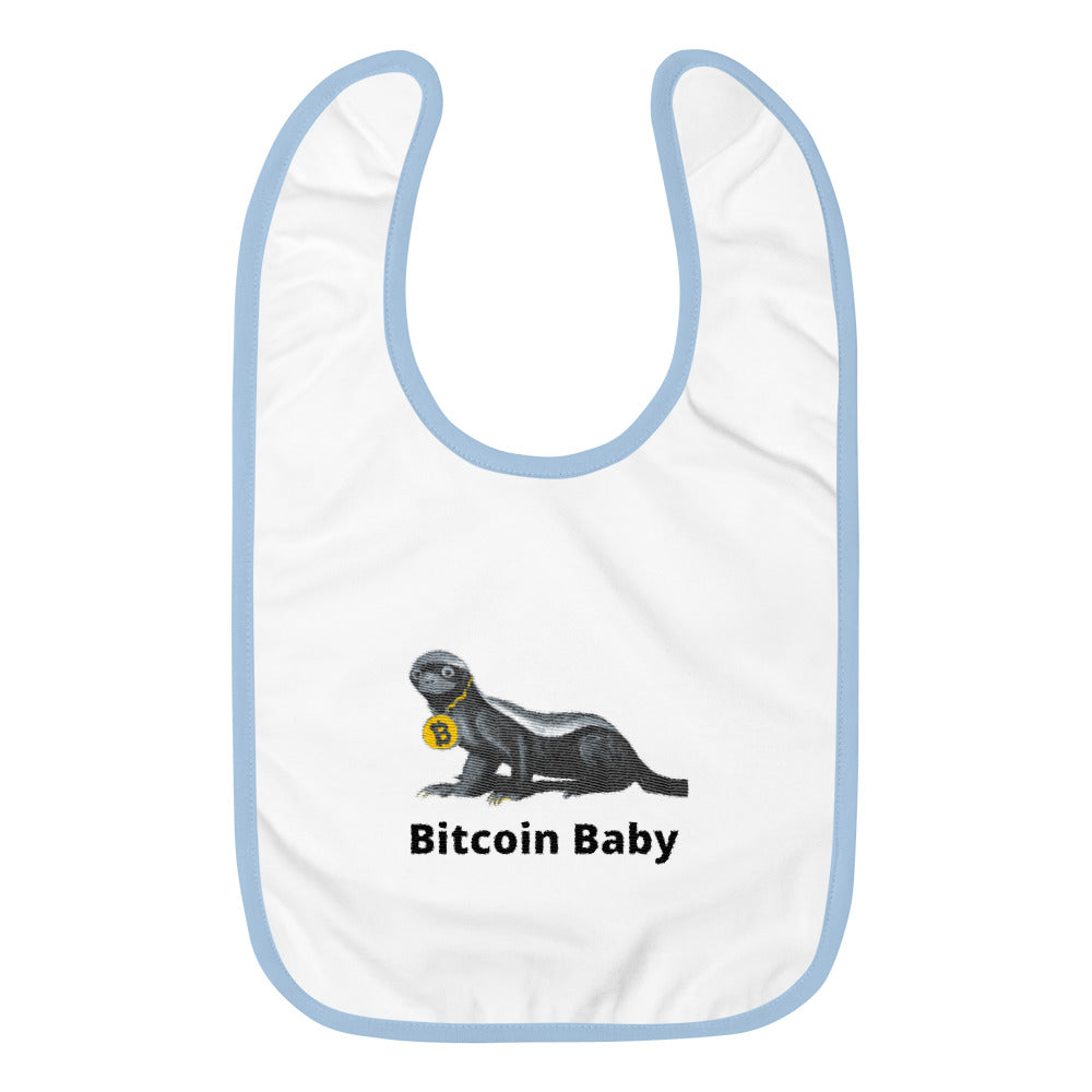 Augmented Reality Infused Bitcoin baby Embroidered Baby Bib