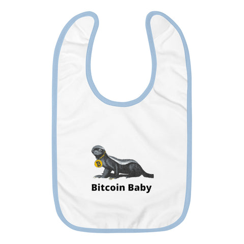 Head Honey Badger In Charge Bitcoin Embroidered Baby Bib