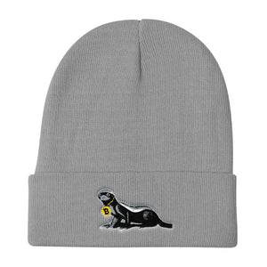 Embroidered Head Honey Badger In Charge Bitcoin Beanie