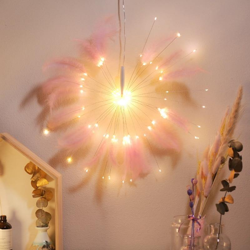 Hanging Starburst Fairy Feather Fireworks Light String 100 LED DIY Foldable Battery Garland Outdoor Waterproof Christmas Party - ReflexCart
