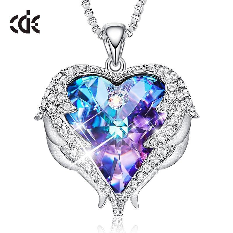 Heart Pendant Crystals Necklace Angel Wings Valentines Gift - ReflexCart