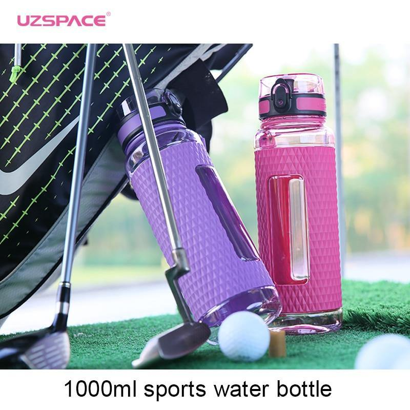 UZSPACE Sports Water Bottles Gym Leak-proof Drop-proof Portable Shaker Outdoor Travel Kettle Plastic Drink Water Bottle BPA Free