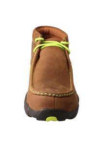 Twisted X Men/'s   MDMST02 Driving Moc Distressed Saddle//Neon Yellow Leather Size