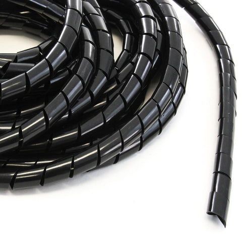 33FT PE 3/4 Inches (20 mm) Black Polyethylene Spiral Wire Wrap Tube PC Manage Cable for Car Computer Cable