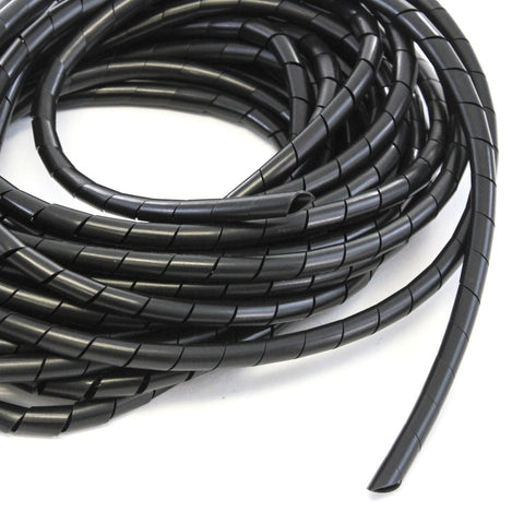 33FT PE 3/8 Inches (10 mm) Black Polyethylene Spiral Wire Wrap Tube PC Manage Cable for Car Computer Cable