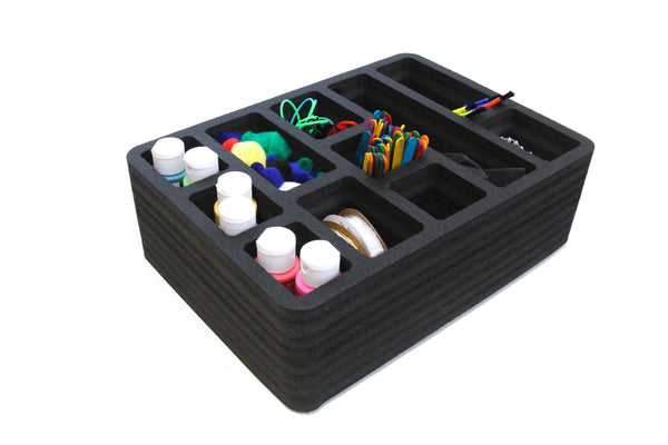 Polar Whale 3 Utility Drawer Organizers Tray Waterproof Washable Insert for Crafts Office Home Shop Shelf Closets and More  9.25 X 13.5 X 4.2 Inches 11 Compartments Black Extra Deep Pockets