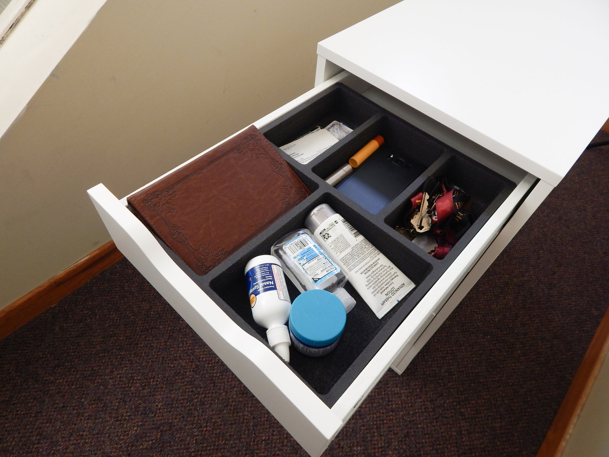 Polar Whale Drawer Organizer Compatible with Ikea Alex Tray Non-Slip Waterproof Insert for Office Home Dorm Garage  11.5 X 14.5 X 2 Inches 5 Compartments Black Deep Pockets