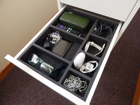 Polar Whale Drawer Organizer Compatible with Ikea Alex Tray Non-Slip Waterproof Insert for Office Home Dorm Garage Made in Usa 11.5 X 14.5 X 2 Inches 7 Compartments Black Deep Pockets