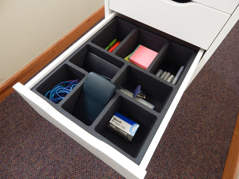Polar Whale Drawer Organizer Compatible with Ikea Alex (Fits Lower Tall Drawers) Tray Waterproof Insert Office Home Dorm  11.5 X 14.5 X 4.2 Inches 8 Compartments Black Extra Deep Pockets